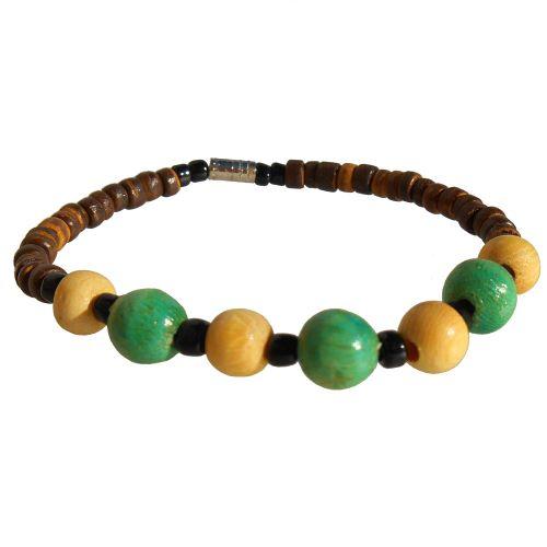 Bracelet surf perles en noix de coco et bois Pour Garçon ou Fille