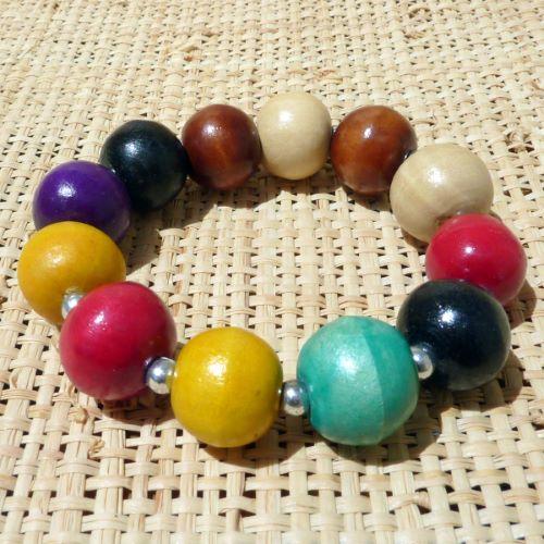 Bracelet en Bois original Perles Rondes Multicolores