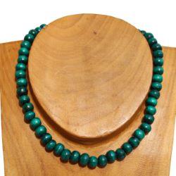 Collier vert perles en bois Un rang Pour Homme ou Femme