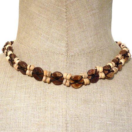 collier surf perles en noix de coco artisanat balinais