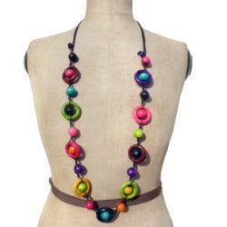 Collier sautoir multicolore Original en Bois Anneaux et perles rondes