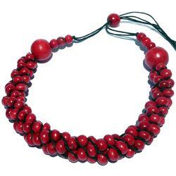 Collier Original en Bois grappe de perles en torsade Rouge Framboise