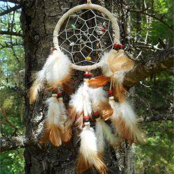 Attrape-Rêves Capteur de rêves Beige Pierres et Perles en Bois - Dreamcatcher
