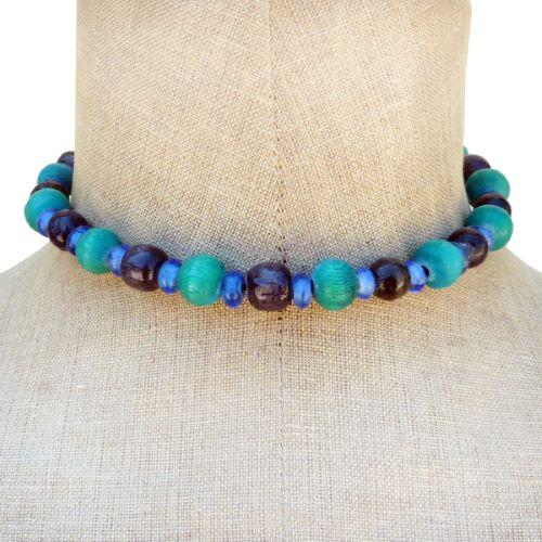 Collier perles en bois rondes et pâte de verre Vert Noir Bleu