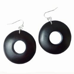 Boucles d'oreille en bois formes rondes ajourées