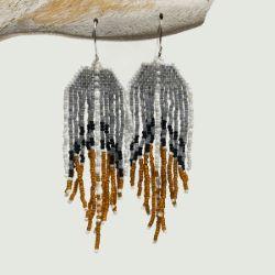 Boucles d'oreilles en perles de rocaille fines franges gris et ocre