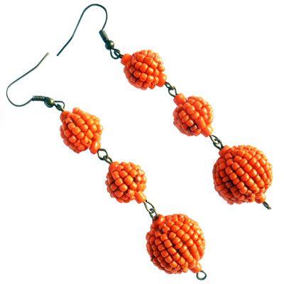Boucles d'Oreilles pendantes Originales Oranges Perles perlées en Rocaille