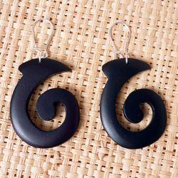 Boucles d'Oreilles en bois Spirales style Etnique