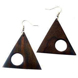 Grandes Boucles d'oreilles Originales en Bois Forme Géométrique Triangle