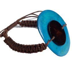Bracelet en os teinté Bleu et marron