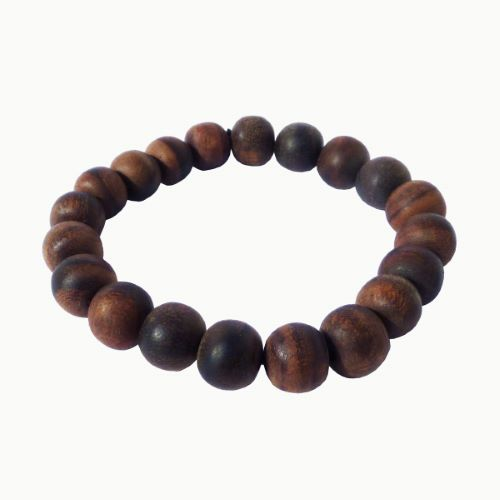 Bracelet en bois Perles rondes en bois brun naturel