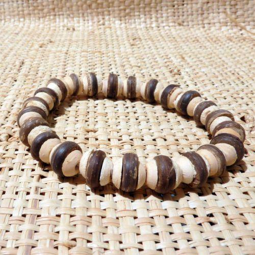 Bracelet surf perles en noix de coco Marron et beige Homme ou Mixte