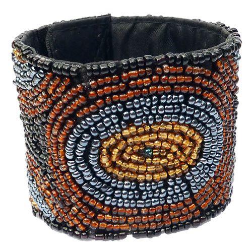 Bracelet broderie de perles de rocaille Noir, Marron, Gris métallisé