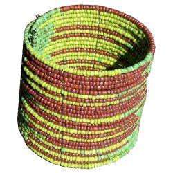 Bracelet manchette en petites perles de rocaille Vert et Marron