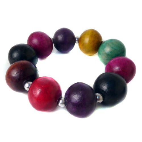 Bracelet couleurs mélangés Perles boules en bois