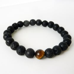 Bracelet Homme ou Mixte perles rondes pierres de lave et oeil de tigre