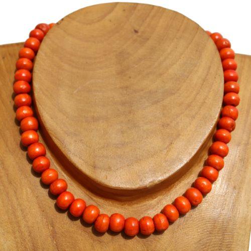 Collier perles en bois couleur unie Orange Pour Homme ou Femme