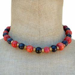 Collier perles en bois rondes et pâte de verre Rouge Noir Jaune
