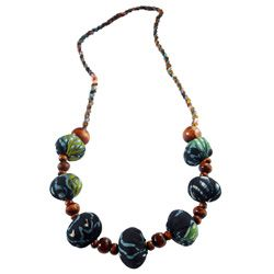 Collier Original Vert / Bleu Perles en Bois et Tissu Batik