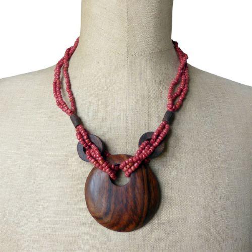 Collier Original mi-long perles de rocaille marron Pendentif rond en bois naturel