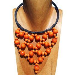 Collier Original Orange Plastron Perles Rondes en Bois