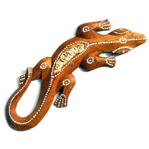 Lézard en Bois décor peint Couleur Bois Blanc Beige Gecko indonésien