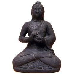 Statuette de Bouddha Vairocana en pierre de lave - Artisanat de Java