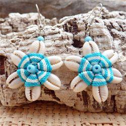 Boucles d'oreilles Originales Fleur en coquillages Cauris