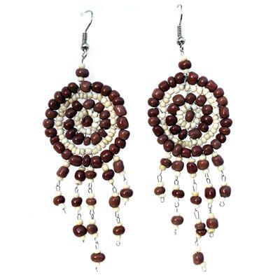 Boucles d'oreilles artisanales en perles de rocaille cercles et breloques marrons et beiges