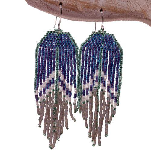 Boucles d'oreilles en perles de rocaille fines franges