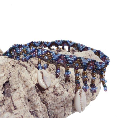 Bracelet de cheville en perles de rocailles et coquillages cauris