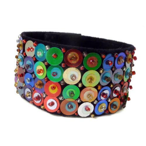 Bracelet manchette original perles Paillettes et Sequins