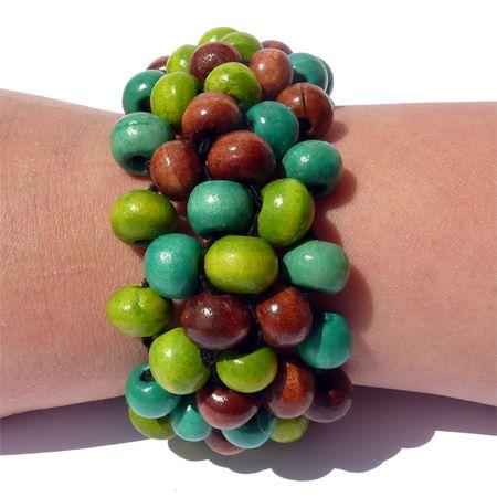 Bracelet perles en bois couleurs mélangées vert anis, bleu vert et marron, artisanat.