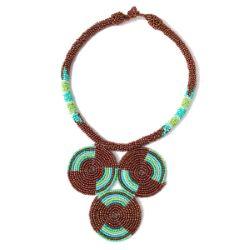 Collier en perles de rocaille artisanal Plastron Ethnique motif cercles