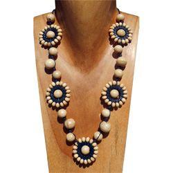 Collier Soleil Perles en bois beige
