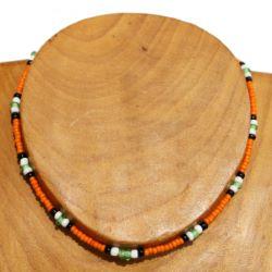 Collier ras de cou un rang de Rocaille & Verre Orange Noir Blanc Vert