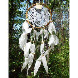 Attrape-Rêves Macramé Blanc Artisanal cercle en Rotin Plumes Blanches - Dreamcatcher