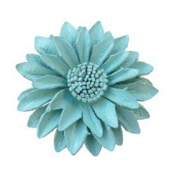 Grosse Bague Fleur en cuir couleur Bleu clair taille ajustable Artisanat de Bali