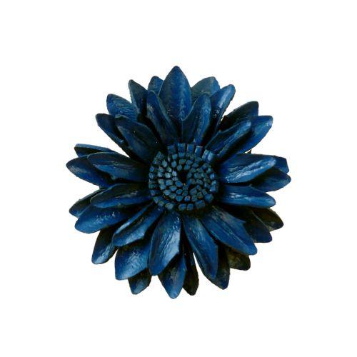 Grosse Bague Fleur en cuir couleur Bleue taille ajustable Artisanat de Bali