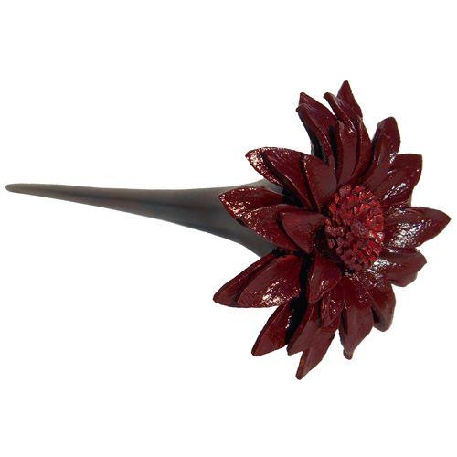 Pique à cheveux en bois à bout évasé avec Fleur en cuir Bordeaux