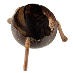 Bol coupelle en noix de coco sur trépied en bois