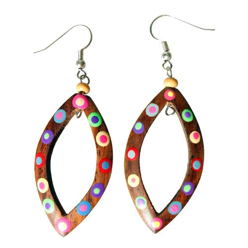 Boucles d'oreilles Bois multicolores - Peintes à la main
