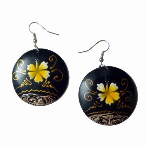 Boucles d'oreilles en bois peint - Rondes Hibiscus jaune