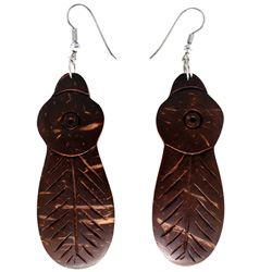 Boucles d'oreilles plumes d'indien en noix de coco