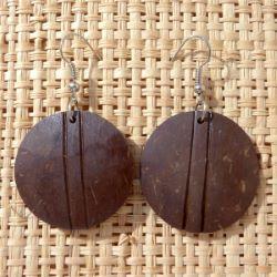 Boucles d'Oreilles Rondes en Noix de Coco