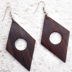 Grandes Boucles d'oreilles Originales en Bois Forme Géométrique Losange