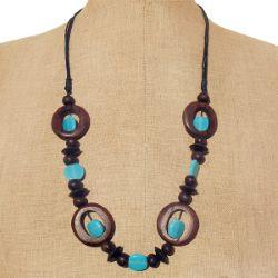 Collier en Bois et Perles en Pâte de verre Bleu - Artisanat de Bali