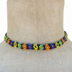 Collier en perles de rocaille motif fleurs multicolores Artisanat