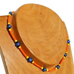 Collier surf ras de cou Perles de Rocaille Verre Orange Bleu jaune
