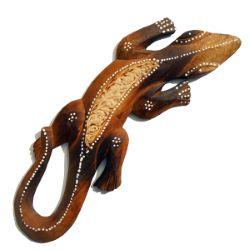 Lézard, Gecko, ou Salamandre en Bois brulé décor peint à la main